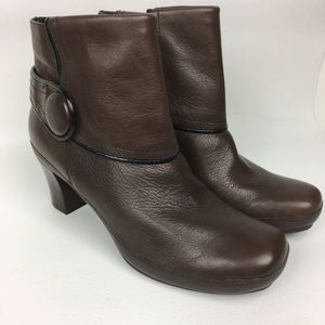 Clarks Brown Leather Heeled Booties